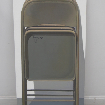 Triple braced quad hinged beige metal hercules folding chair II